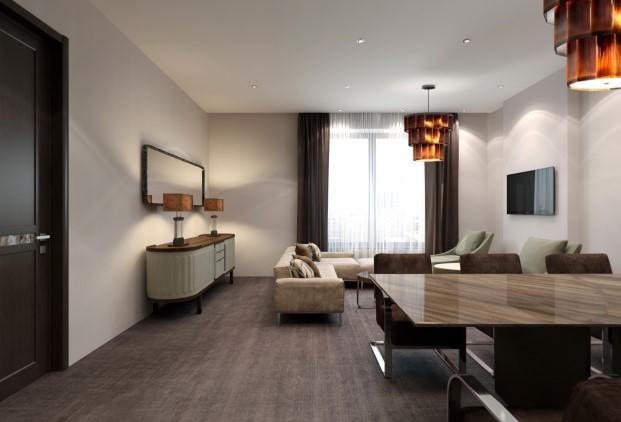 Гостиная из проекта квартиры площадью 63 кв.м  (фото из архива дизайнера)