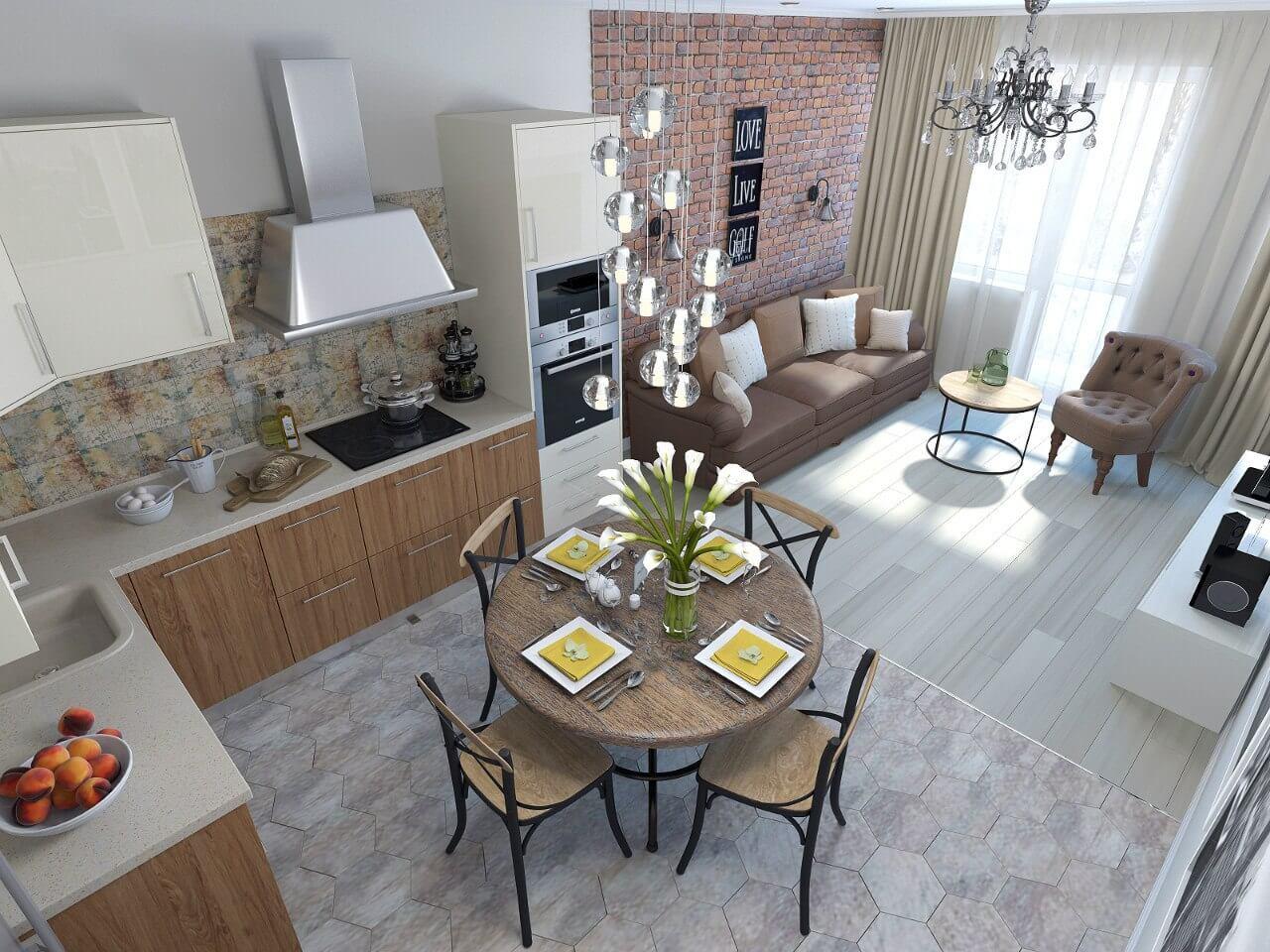 Кухня-гостиная дизайн интерьера