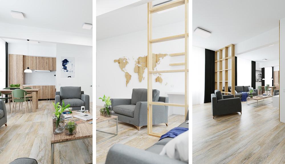 Дизайн интерьера трехкомнатной сталинки площадью 77 кв.м. в Ступино Дизайн интерьера трехкомнатной сталинки площадью 77 кв.м. в Ступино от AKmadeHouse, студия дизайна
